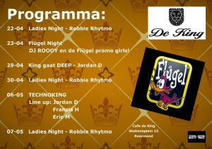 Poster programma Café De King, Roermond (eind april, begin mei 2016)